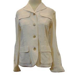 Theory Garrison  linen blend Ivory jacket Sz 6
